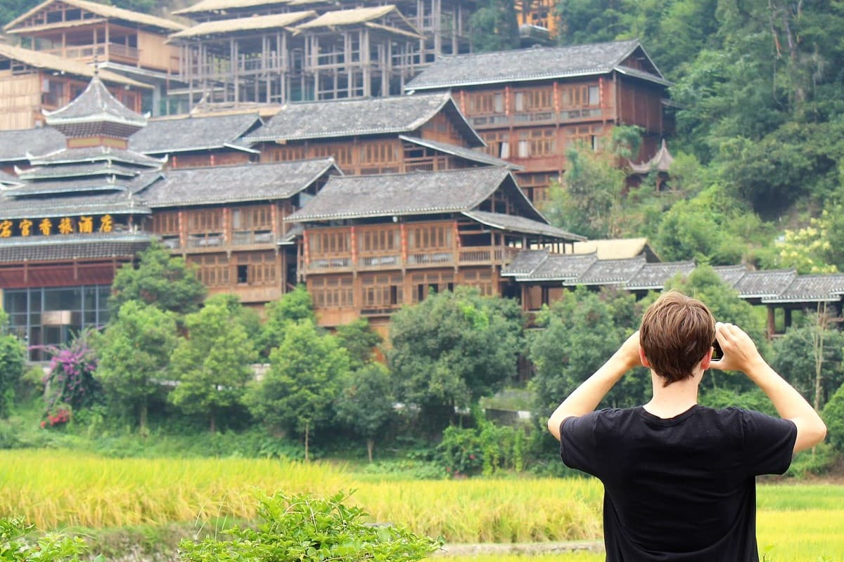 Looking onto Chinese village by Xu Xin