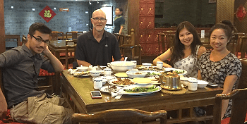 Niall Chithelen, Prof. Allen Carlson, Clara Lee, and Robin Zhang at Lao She's Tea House